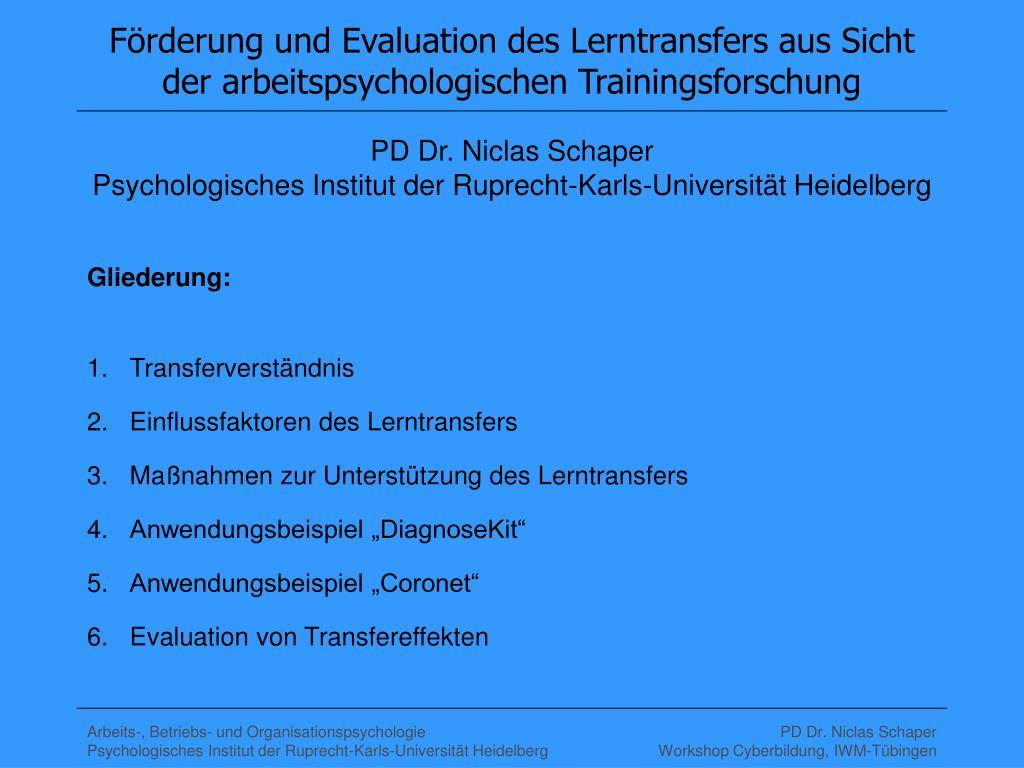 f rderung und evaluation des lerntransfers aus sicht der arbeitspsychologischen trainingsforschung l.