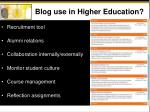blog use in higher education