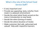 what is the role of the school food service staff