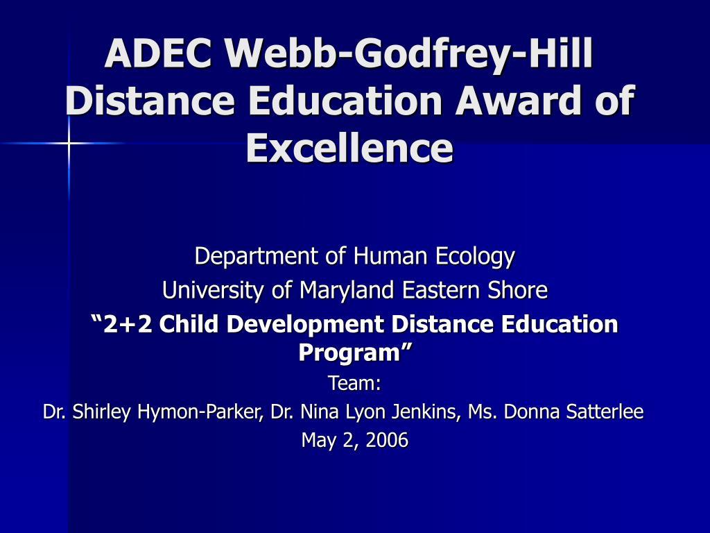 adec webb godfrey hill distance education award of excellence l.