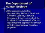 the department of human ecology