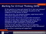 marking for critical thinking skills