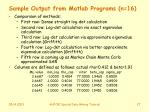 sample output from matlab programs n 16