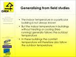 generalising from field studies