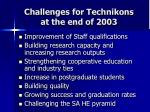 challenges for technikons at the end of 2003