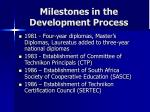 milestones in the development process