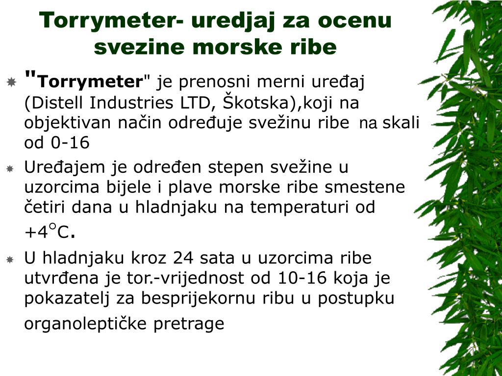 Torrymeter- uredjaj za ocenu svezine morske ribe