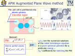 apw augmented plane wave method