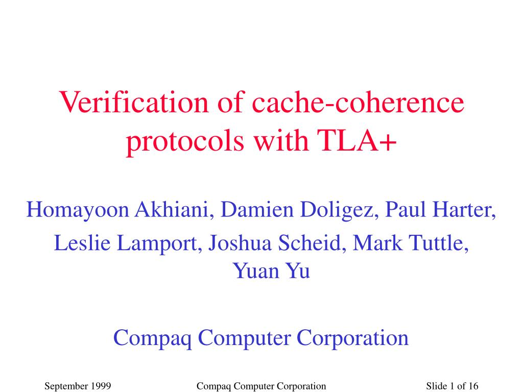 verification of cache coherence protocols with tla l.