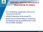 trends biotechnology transfer in india