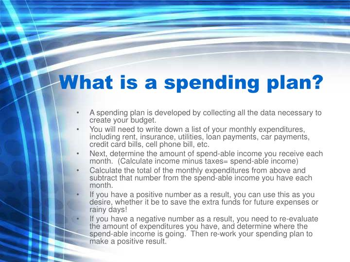 What is a spending plan