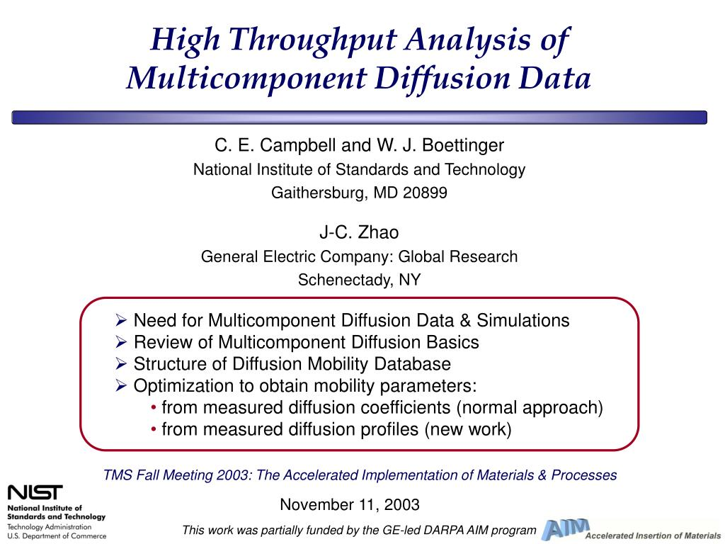 high throughput analysis of multicomponent diffusion data l.