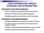 cash expenditure versus accrued cost in budgeting
