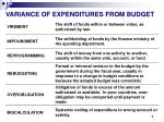 variance of expenditures from budget