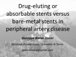 drug eluting or absorbable stents versus bare metal stents in peripheral artery disease