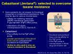 cabazitaxel jevtana selected to overcome taxane resistance