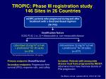 tropic phase iii registration study 146 sites in 26 countries