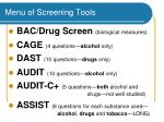 menu of screening tools