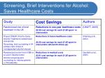 screening brief interventions for alcohol saves healthcare costs