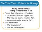 the third task options for change49