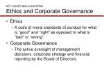 key issues and concerns ethics and corporate governance