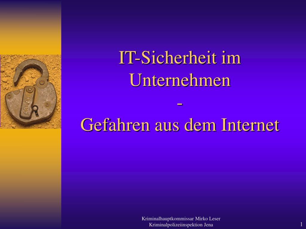 it sicherheit im unternehmen gefahren aus dem internet l.