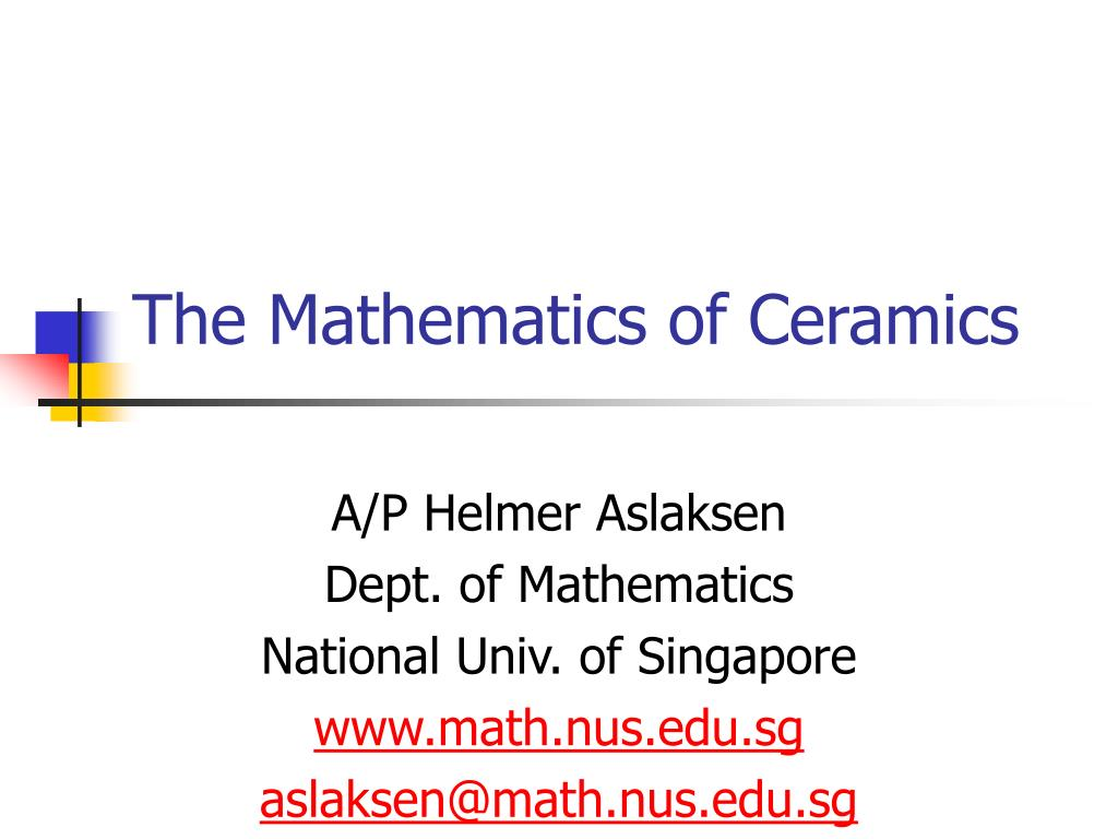 the mathematics of ceramics l.