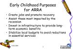 early childhood purposes for arra