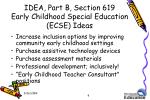 idea part b section 619 early childhood special education ecse ideas