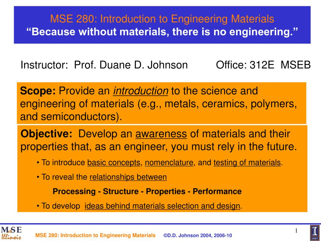 mse 280 introduction to engineering materials because without materials there is no engineering l.