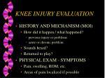 knee injury evaluation
