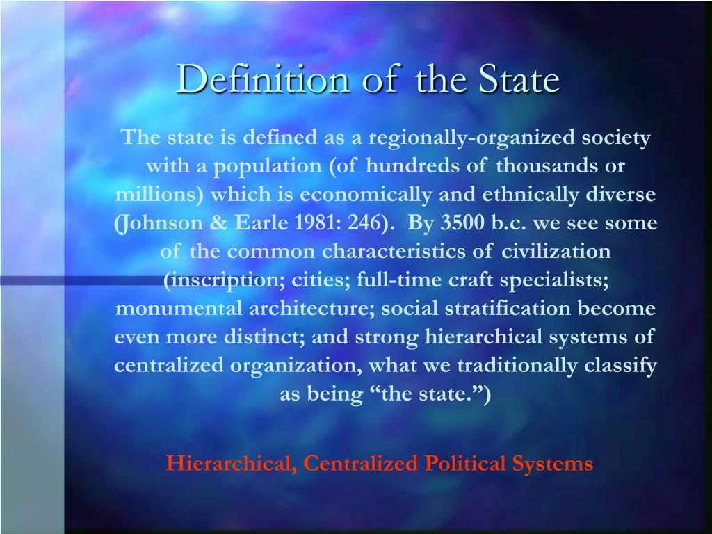 Definition of the State