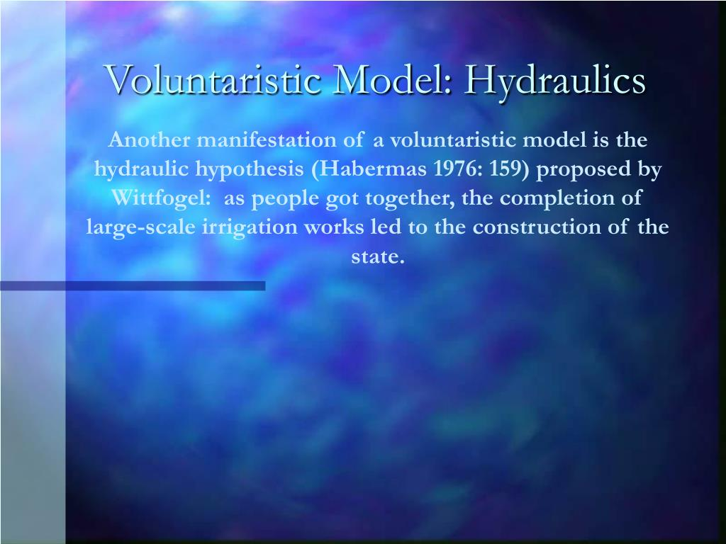 Voluntaristic Model: Hydraulics