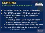 dcpromo ad installation von backup medien