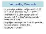 vermelding p waarde