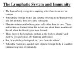 the lymphatic system and immunity