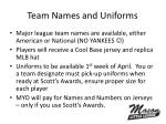 team names and uniforms