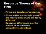 resource theory of the firm