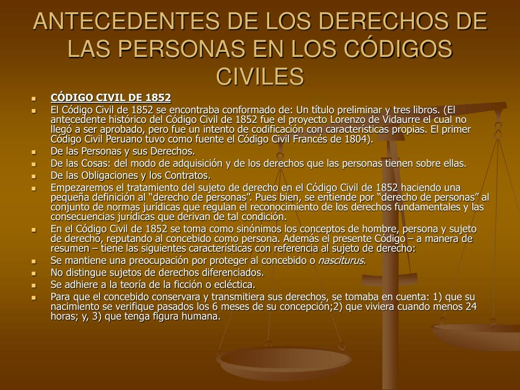 ANTECEDENTES DE LOS DERECHOS DE LAS PERSONAS EN LOS CÓDIGOS CIVILES