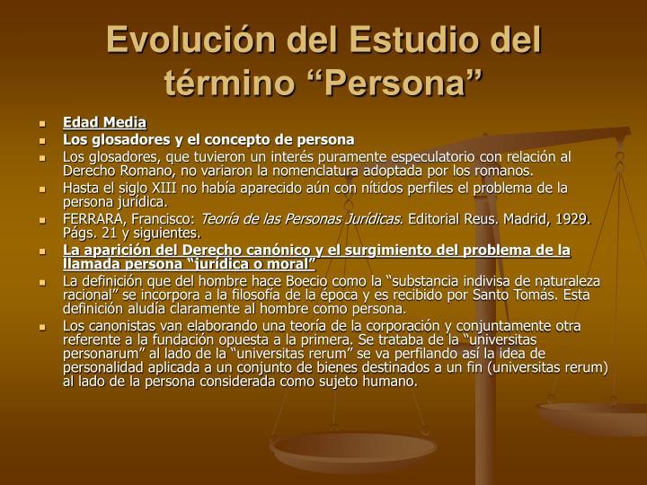 Evoluci n del estudio del t rmino persona