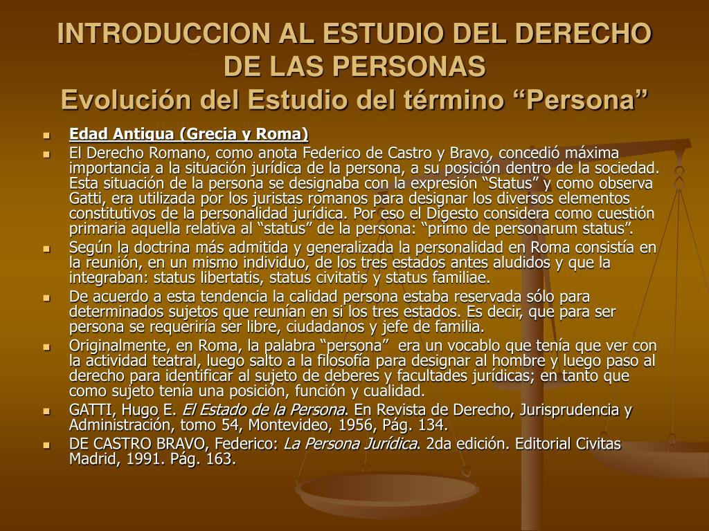 introduccion al estudio del derecho de las personas evoluci n del estudio del t rmino persona l.