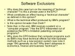 software exclusions