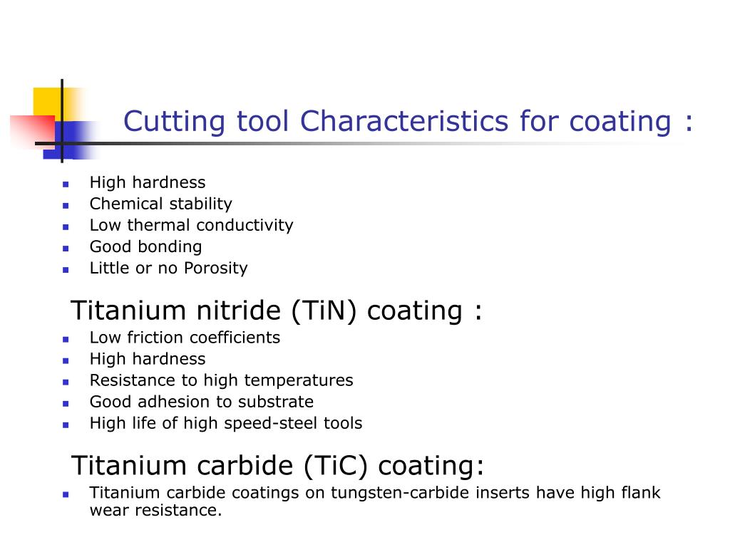 Cutting tool Characteristics for coating :
