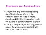 experiences from american dream