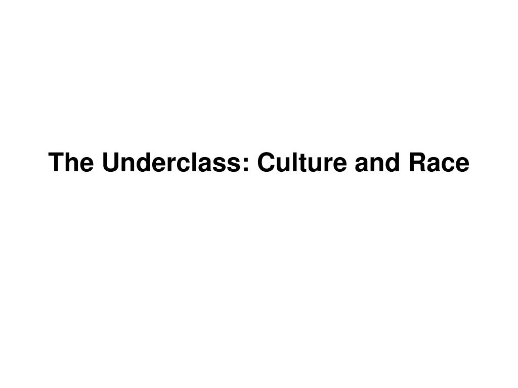 the underclass culture and race l.