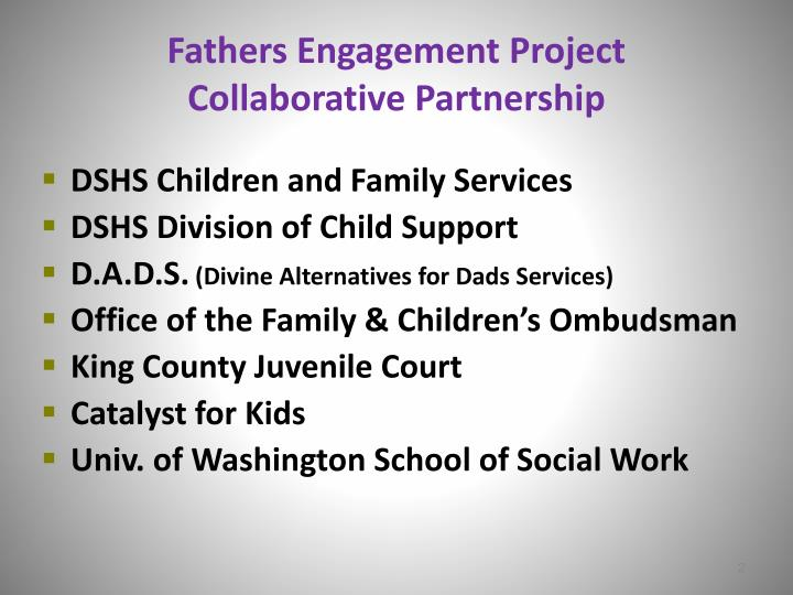 Fathers engagement project collaborative partnership