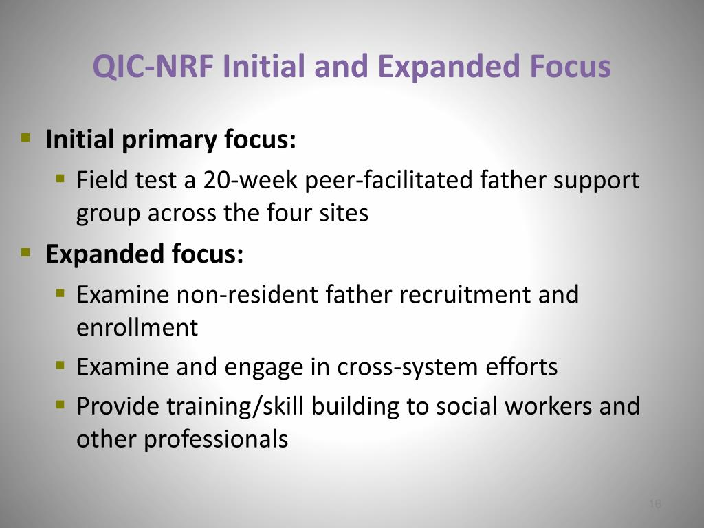 QIC-NRF Initial and Expanded Focus