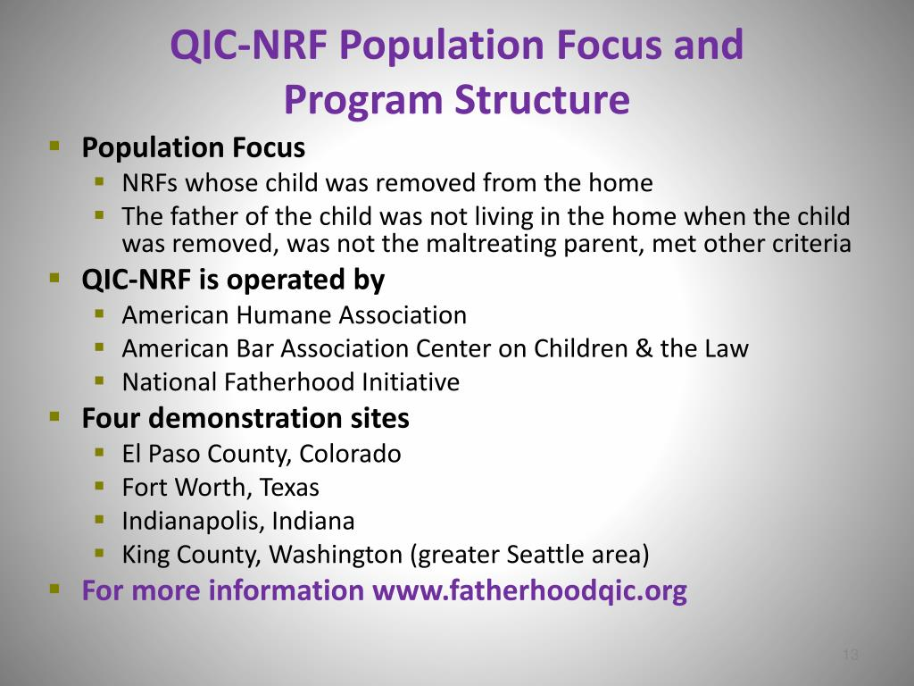 QIC-NRF Population Focus and