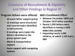 summary of recruitment eligibility and other findings in region iv