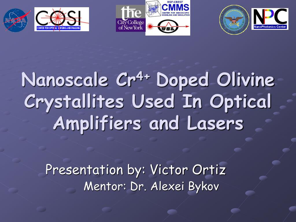nanoscale cr 4 doped olivine crystallites used in optical amplifiers and lasers l.